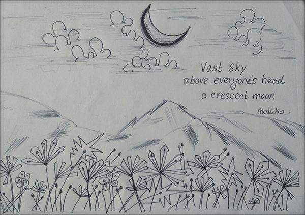 'vast sky / above eveyone's head / a crescent moon' by Mallika Chari