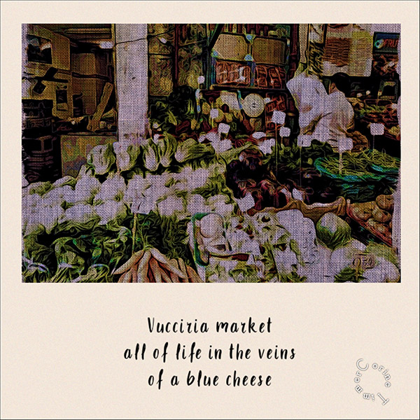 'Vuccizia market / all of life in the veins / of a blue cheese' by Corine Timmer