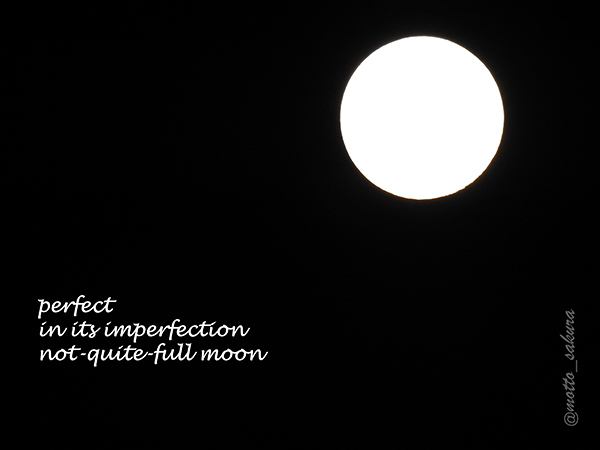 'perfect / in its imperfection / not-quite-full moon' by David Kelly