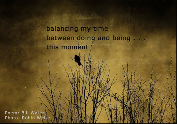 'balancing my time / between doing and being... / this moment' by Bill Waters. Artby Robin White