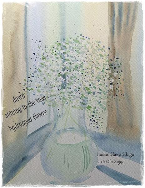 'dawn / shining in the vase / hydranga flower' by Slawa Sibiga. Art by Ola Zajac