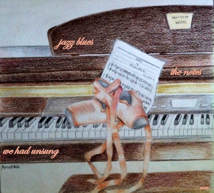 'jazz blues/the notes / we had unsung' by Mamta Madhavan. Art by Anushka Menon