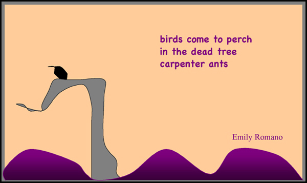 'birds come to perch / in the dead tree / carpenter ants' by Emily Romano. Haiga first published in White Lotus, Spring/Summer, 2009.