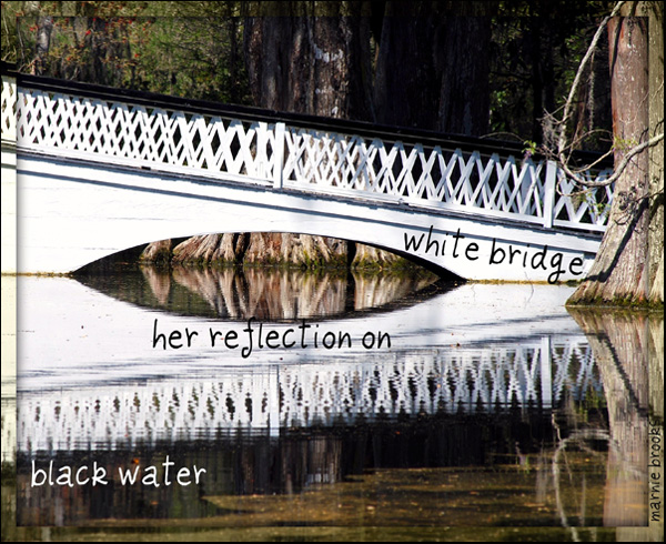 'white bridge / her reflection on / black water' by Marnie Brooks