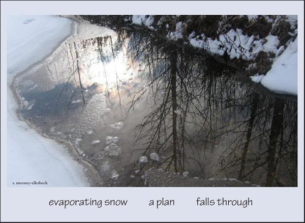 'evaporating snow / a plan /  falls through' by Sandra Mooney-Ellerbeck