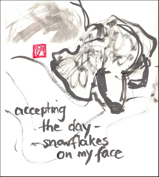 'accepting / the day� / snowflakes / on my face' by Beth McFarland